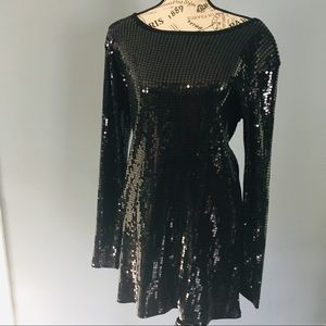 Diane Gilman black sequin long sleeve dress